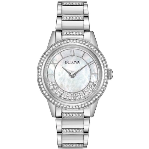 Bulova 96L257 Ladies Turnstyle Silver/Mother of Pearl Crystal Watch