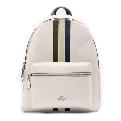 Coach Charlie Backpack Ladies Coated Canvas and Leather(Varsity Stripe; Chalk Pale Green Multi) - BAGS
