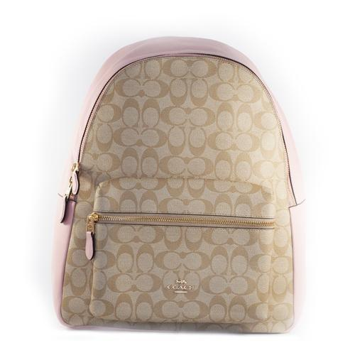 Coach 58314  Ladies Charlie Signature Khaki/Blossom Canvas/Leather Backpack