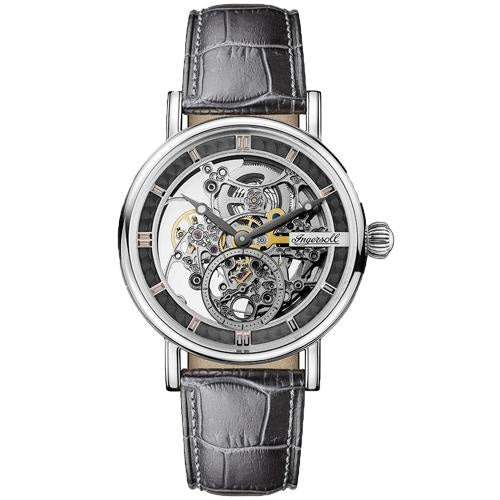 Ingersoll I00402 Men's The Herald Silver/Black Leather Skeleton Automatic Watch - WATCHES