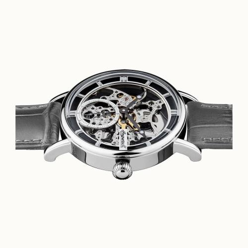 Ingersoll I00402  Men's The Herald Silver/Black Leather Skeleton Automatic Watch