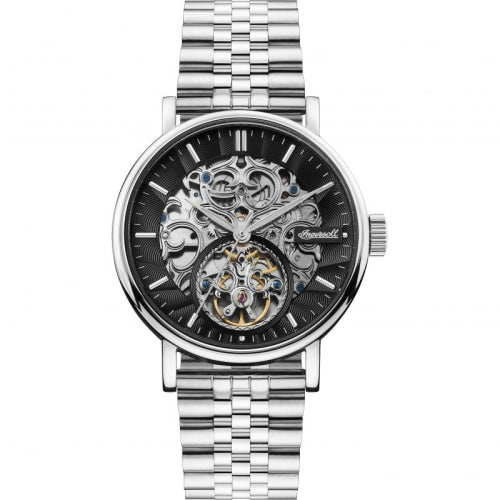Ingersoll I05804 Men's The Charles Silver/Black Stainless Skeleton Automatic Watch - WATCHES
