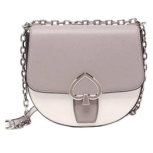 Kate Spade Robyn Medium Chain Saddle Bag Ladies. Leather (Optic White Multi) - BAGS