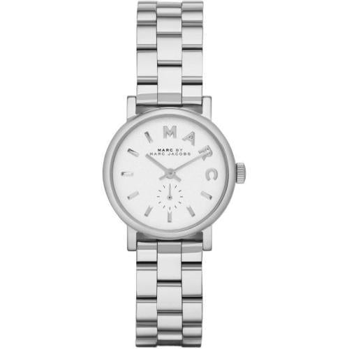 Marc Jacobs MBM3246 Ladies Mini Baker White Dial Silver Stainless Steel Watch