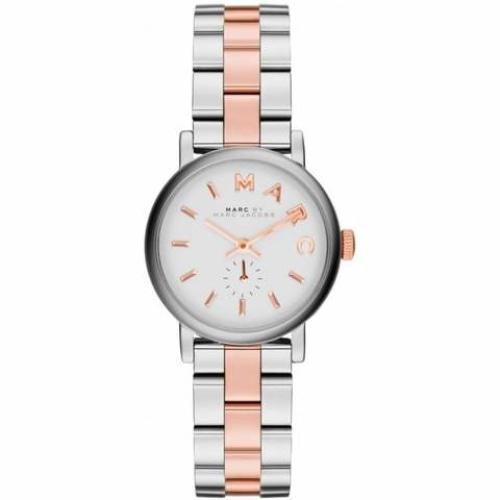 Marc Jacobs MBM3331 Ladies Mini Baker White Dial Two-Tone Stainless Steel Watch