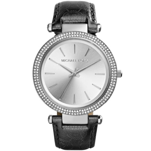 Michael Kors MK2350 Ladies Darci Silver With Black Leather Crystal Watch