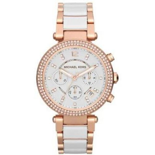 Michael Kors MK5774 Ladies Parker Rose Gold & White Chronograph Watch - WATCHES