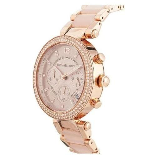 Michael Kors MK5896 Ladies Parker Rose Gold & Pink Chronograph Watch