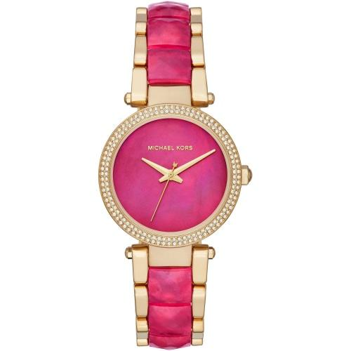Michael Kors MK6490 Ladies Parker Pink Mother Of Pearl Gold Watch