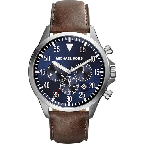 Michael Kors MK8362 Mens Gage Silver/Blue With Brown Leather Chronograph Watch