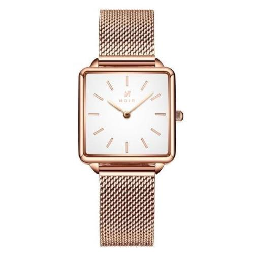 Noir Carrée Ladies Rose Gold & White Stainless Steel Mesh Watch