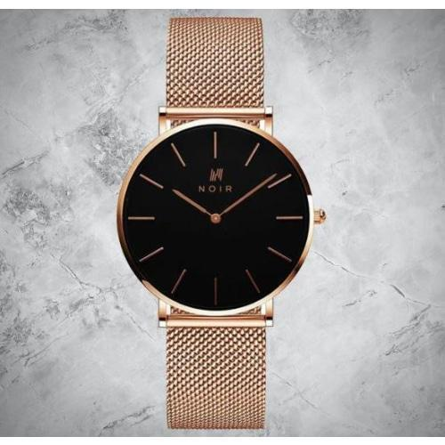 Noir Cercle Ladies Rose Gold Mesh Stainless Steel Watch
