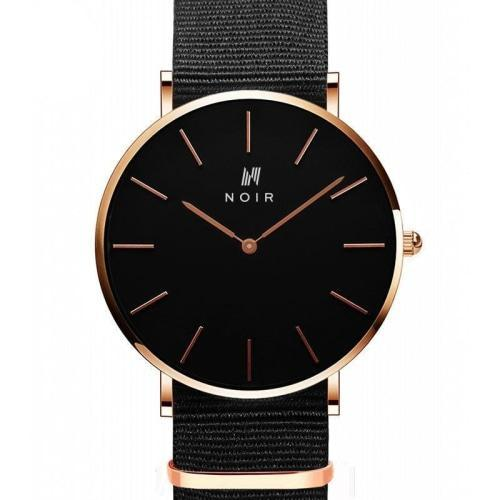 Noir Chiffres D'or Mens Black Fabric & Rose Gold Stainless Steel Watch