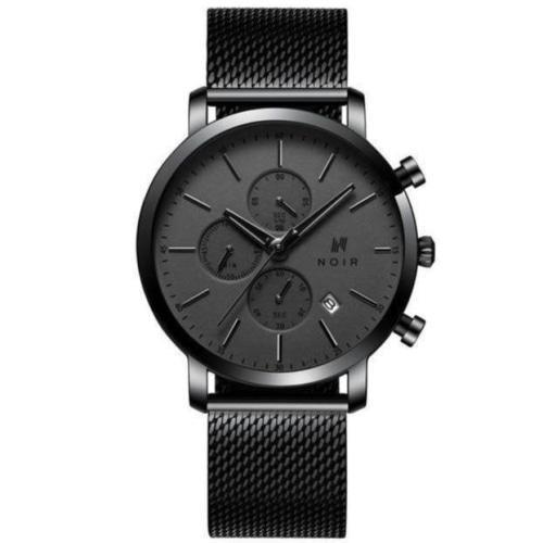 Noir Le Conte Mens Gunmetal Mesh Stainless Steel Chronograph Watch