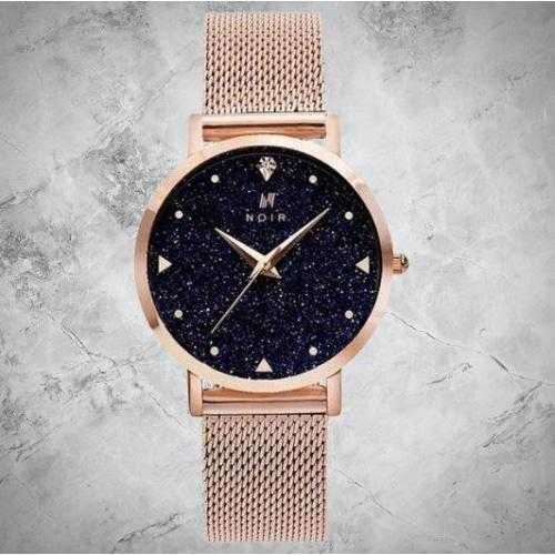 Noir Lunar Ladies Rose Gold Mesh & Midnight Star Dial Stainless Steel Watch