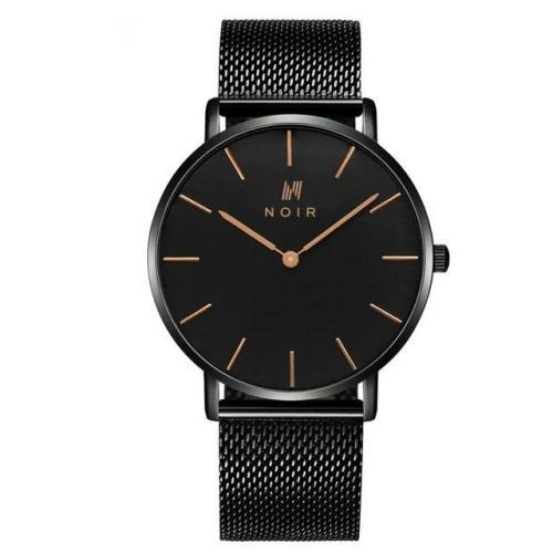 Noir Maille Dorée Mens Black Mesh Stainless Steel Watch