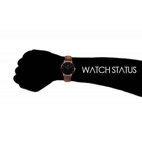 Noir Marron Mens Brown Leather Black Dial Watch