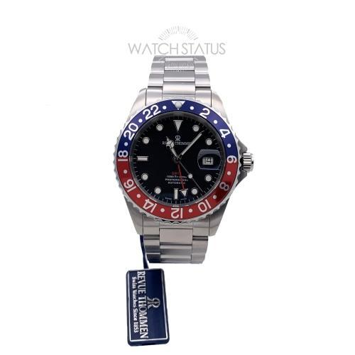 Revue Thommen 17572.2135 Mens Diver GMT Black Dial 'Pepsi' Automatic Swiss Watch