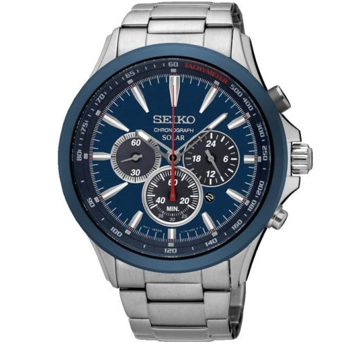Seiko SSC495P1 Men's Solar Power Silver/Blue Chronograph Watch