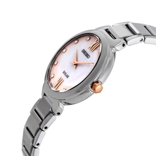 Seiko SUP381P1 Ladies Solar Mother of Pearl Crystal Watch
