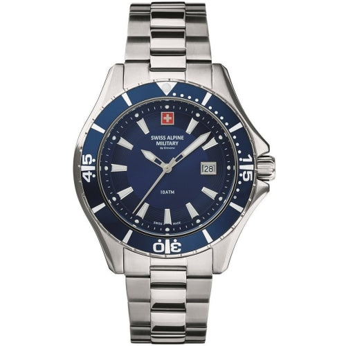 Swiss Alpine Military 7040.1135 Mens Diver Silver/Blue Swiss Watch