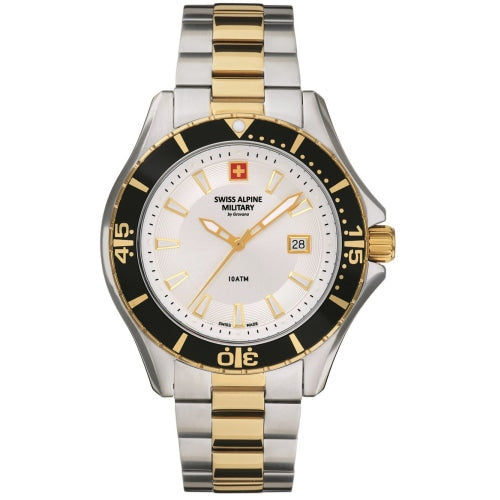 Swiss Alpine Military 7040.1142 Mens Diver Two-tone Swiss Watch