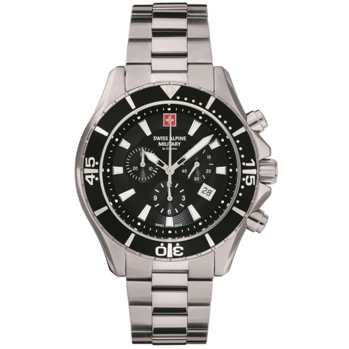 Swiss Alpine Military 7040.9137  Mens Chrono Silver/Black Swiss Watch