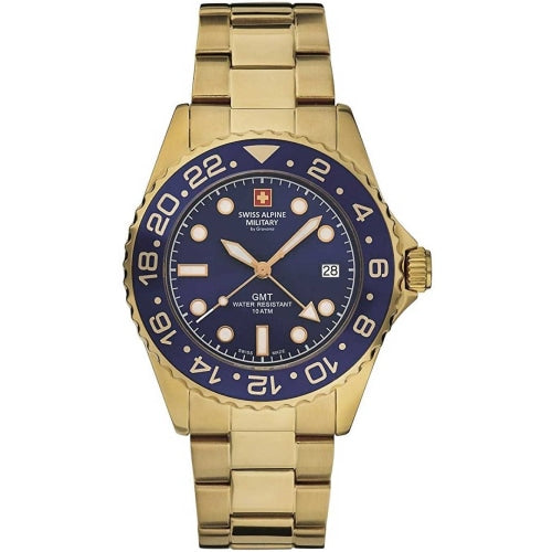 Swiss Alpine Military 7052.1115 Men's GMT Diver Gold/Blue Swiss Watch - WATCHES