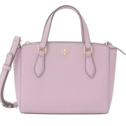 Tory Burch (64189) Emerson Mini Top Zip Tote Handbag Ladies Leather (Dusty Violet) - BAGS