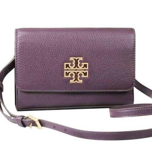 Tory Burch (75025) Britten Combo Crossbody Hand Bag. Ladies. Leather (New Plum) - BAGS