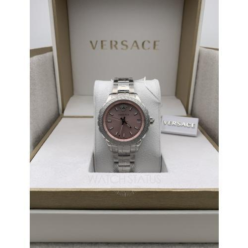 Versace V1201/0015 Ladies Hellenyium Pink Sun-ray Dial Swiss Watch
