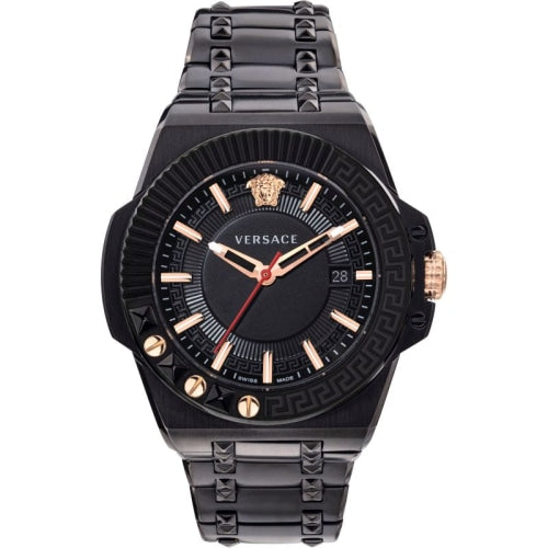 Versace VEDY007/19 Mens Chain Reaction Black & Rose Gold Swiss Watch