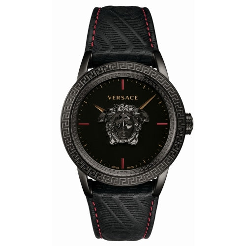 Versace VERD002 18 Men's Palazzo Empire Black Leather Swiss Watch