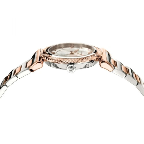 Versace VERE007/18 Ladies V-Motif Rose Gold & Silver Swiss Watch