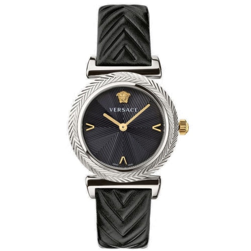 Versace VERE016/20 Ladies V-Motif Black & Silver Leather Swiss Watch
