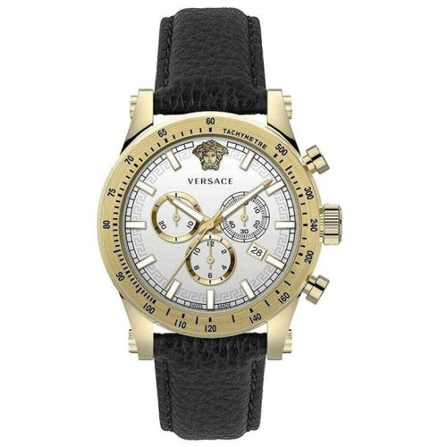 Versace VEV8003/19 Mens Sporty Gold With Black Leather Chronograph Swiss Watch