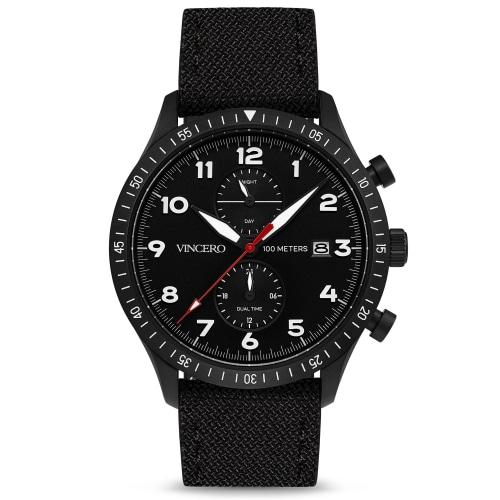 Altitude Mens Black Cordura Nylon Luminous Chronograph Watch