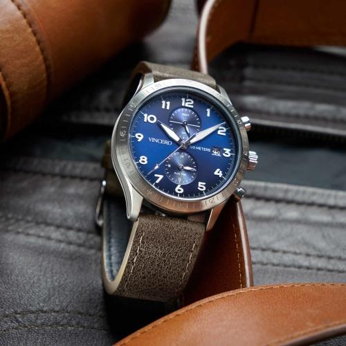 Altitude Mens Brown Italian Leather Blue Dial Luminous Chronograph Watch