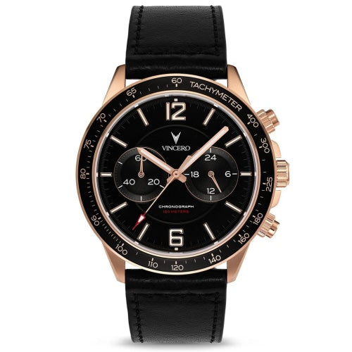 Vincero Apex Men's Black/Rose-Gold Italian Leather Chronograph Watch