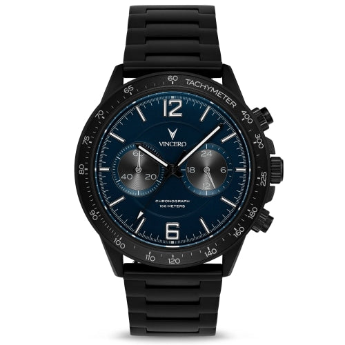 Vincero Apex Men's Matte Black / Navy Blue Stainless Steel Chronograph Watch - WATCHES
