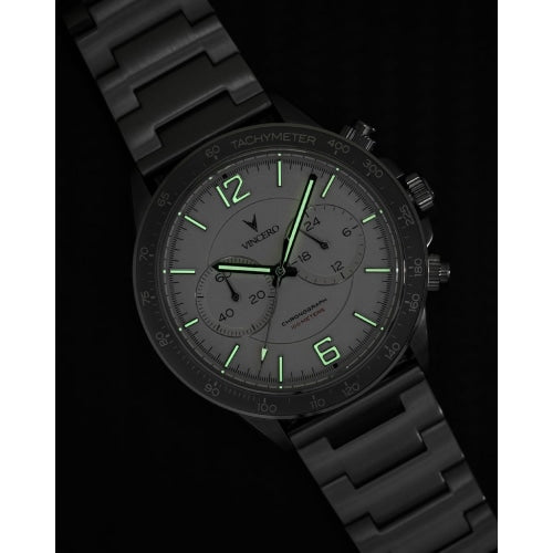 Vincero Apex Men's Silver/Green Stainless Steel Chronograph Watch