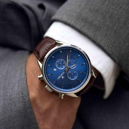 Chrono S Brown Leather Blue Dial Chronograph Watch