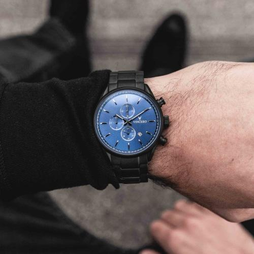 Vincero Chrono S  Mens Matte Black Stainless Steel Blue Dial Chronograph Watch