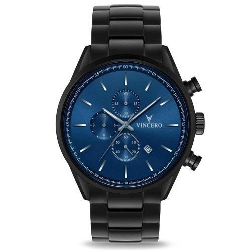 Chrono S Matte Black Stainless Steel Blue Dial Chronograph Watch