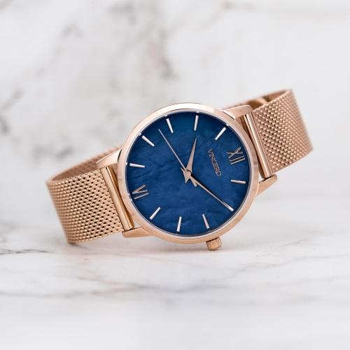 Eros Petite Ladies Rose Gold Mesh Stainless Steel Blue Pearl Dial Watch