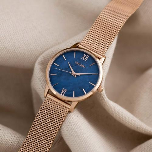 Vincero Eros Petite  Ladies Rose Gold Mesh Stainless Steel Blue Pearl Dial Watch