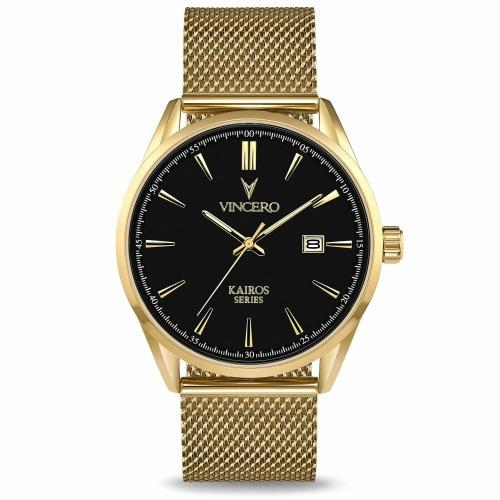 Vincero Kairos  Mens Gold/Black Mesh Stainless Steel Analogue Watch