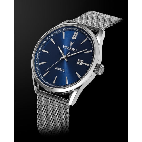 Vincero Kairos Mens Silver/Blue Mesh Stainless Steel Analogue Watch