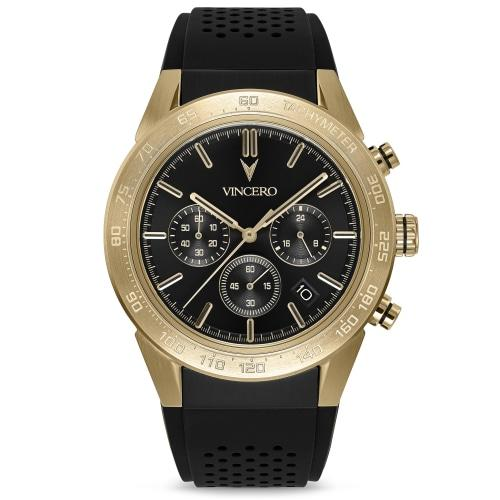 Rogue Mens Black Silicone Gold Case Sapphire Chronograph Watch
