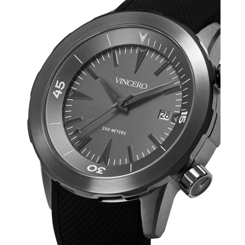 Vincero Vessel Limited Edition Men's Black/Gunmetal Silicone Divers Watch